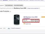 Blackberrykauf bei einem Onlineauktionshaus