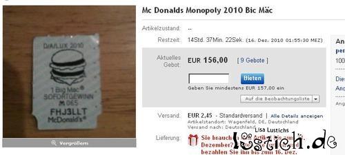 McDonalds Monopoly -Gewinn