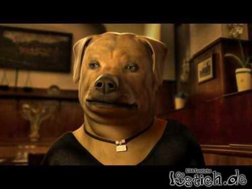 Hundekopf auf Mona-Lisa körper