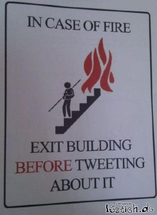 Wichtige Anweisung bei Feuer
