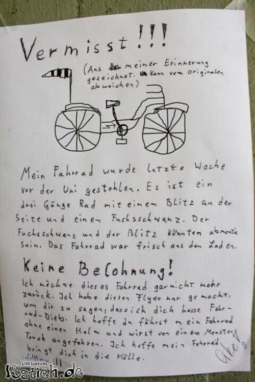 Fahrrad geklaut