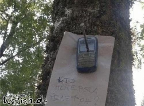 Handy festgenagelt