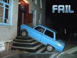 Vor der Tür geparkt